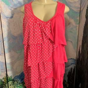 French Laundry Pink Polka- Dot Layered Tank Top